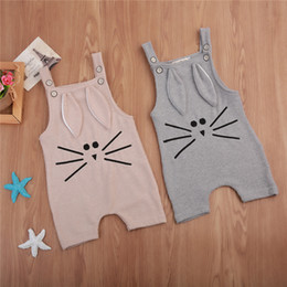 baby jumpsuit bunny 2019 - Lovely Newborn Baby Boy Girl Knit Romper Sleeveless Bunny Ear Warm Clothes 2017 New Kids Jumpsuit Playsuit Outfits Kids