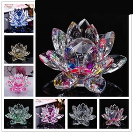 Silk wedding giftS online shopping - K9 Crystal Lotus Flower Ornament Living Room Arts And Crafts Gift Automobile Home Decor Souvenirs Hot Sale ly2 Ww