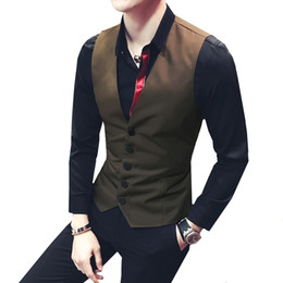 Black Work Vests NZ - 2018 New men's Single breasted male slim vest british style outerwear work wear vest tooling plus size M-5XL DJ singer costumes