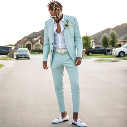 Tuxedo panTs for men online shopping - 2018 Mint Green Mens Suits Slim Fit Two Pieces Beach Groomsmen Wedding Tuxedos For Men Peaked Lapel Formal Prom Suit Jacket Pants