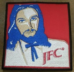 Punk Motorcycle Jacket Australia - Jesus Christ JFC KFC Patch Embroidered Motorcycle Applique Badge Embroidery Patch Biker Punk Parch on Clothing for Jacket Backpack