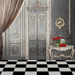 Grey backdrops online shopping - Vintage Grey Wall Crystal Chandelier Interior Wedding Photography Backdrop Computer Printed Curtain Red Roses Books Photo Studio Backgrounds