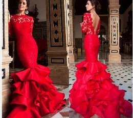 Strapless Sequin Red Dress Australia - Jewel Neckline Ruffled Mermaid Evening Dresses With Long Sleeves Lace and Satin Ruffled Skirt Red Prom Dress vestidos longos de festa