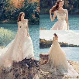 Chinese  Papilio 2018 Beach Blush Pink Wedding Dresses Tulle Long Lace Appliqued Backless Sheer Scoop Neckline Chapel Train Bridal Gowns manufacturers