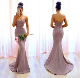 Discount light purple wedding reception dresses - Backless Mermaid Bridesmaid Dresses Spaghetti Straps Appliques Maid of Honor Gowns Wedding Dress Reception Long Gowns