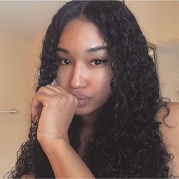 Indian Women Long Hair NZ - Long Deep Wave Lace Front Human Hair Wig With Baby Hair 100% Indian Virgin Hair Full Lace Wigs Color #1b For Black Women