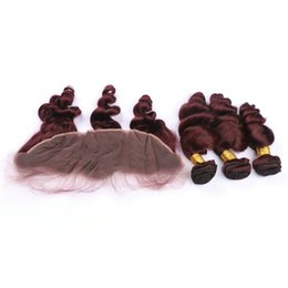 Discount remy virgin hair red - Peruvian Virgin Hair 99J Loose Wave 3 Bundles With Frontal Closure 99J Red Wine Color Human Hair Weave Bundles With Fron