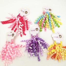 kids ponytail hair tie holder 2019 - Colorful Curly Ribbon Hair Ties For Girls Women Cute Hair Rubber Bands Kids Ponytail Holders Elastic Hair Bands cheap ki