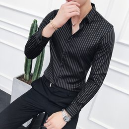 Discount korean long black hair - 2018 autumn long-sleeved striped shirt male Korean version of the self-cultivation trend hair stylist British handsome s