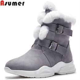 $enCountryForm.capitalKeyWord NZ - ASUMER 2018 fashion ankle boots for women round toe buckle suede leather boots short plush keep warm snow ladies shoes