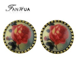 fanhua jewelry UK - FANHUA Pendientes Vintage Rose Flower Vintage Earrings Rhinestone Fashion Stud Earings Bijuteria Jewelry for Women