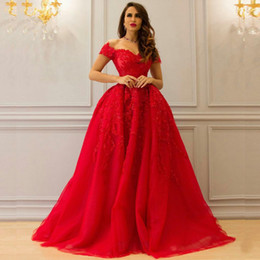 $enCountryForm.capitalKeyWord NZ - Stunning 2018 Red Wedding Dresses Colorful Sweetheart Off the Shoulder Beaded Lace Appliques Tulle Arabic Bridal Gowns Custom Made