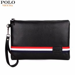 3df2e9bf0712 Wholesale- VICUNA POLO Fashion Classic Striped Design Men Clutch Wallet  Famous Brand Mens Clutch Handbag With Belt Large Envelope Bag New