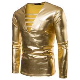 781a2b447c9 Sexy Shiny Gold Coated Metallic T Shirt Men 2018 Caual V Neck Men T-shirt  Night Club T Shirts Slim Hip Hop Top Tee Shirt Homme 2XL