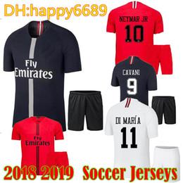 Adult MBAPPE Champion League PSG Soccer Jersey 2018 19 Paris VERRATTI DI  MARIA CAVANI MEN Football Kit KIMPEMBE maillot de foot Shirt 1eb79ef24