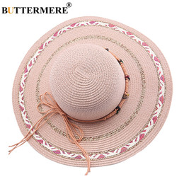 China BUTTERMERE Pink Sun Hats For Women Large Brim Bowknot Straw Hats Elegant Female Travel Beach Ladies Panama Cap Summer 2018 cheap large elegant straw hats suppliers