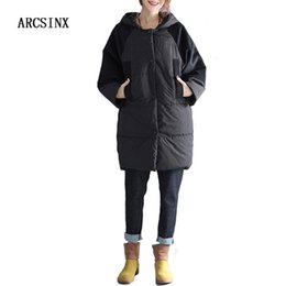 loose parka UK - ARCSINX Plus Size Women's Jacket Winter 6XL XXXL 4XL 5XL Thicken Oversize Women Coat Black Casual Jackets For Women Loose Parkas