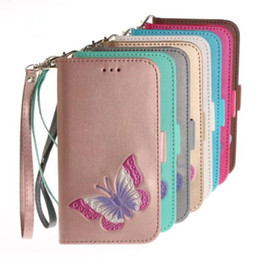 China Hand-painted Leather Wallet Butterfly Purse Holster Insert Cards case for iphone X 8G 7G 6S PLUS 5S SE Samsung S8 PLUS S7 EDGE Photo Frame cheap iphone 5s wallet purse suppliers