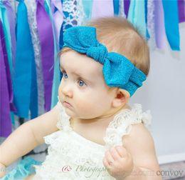 Wear baby online shopping - Baby Girls bunny headbands Kids Shiny Bowknot Headbands Shiny Bow headwear headwrap Children Hair Accessories Hairbands Party wear KHA550