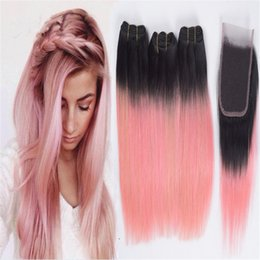 peruvian gold hair 2018 - 8A Rose Gold Pink Ombre Straight Hair Bundles with Lace Closure Two Tone 1B Pink Ombre Human Hair Weaves and Top Closure