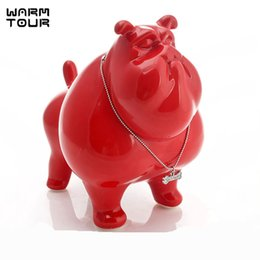 Ceramic American Bulldog Dog Piggy Bank Home Decor Crafts Room Decorations Kawaii Ornament Porcelain Animal Figurines