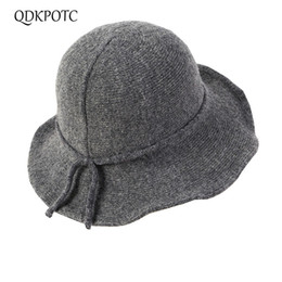 5f3c5b3859dc11 QDKPOTC 2018 High Quality Bucket Hats Leisure Sunscreen Shade Caps Big Brim  Anti-wool Knitting Solid Color Warmth Basin Cap