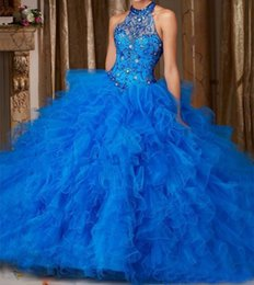$enCountryForm.capitalKeyWord NZ - Royal Blue Ball Gown Quinceanera Dresses 2018 Cascading Ruffles Sexy Halter Beaded Neckline Organza Corset Sweet 16 Party Gown Prom Dresse