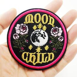 Vente en gros Patchs de broderie enfant lune coudre le fer sur Applique Patch fleur insigne Hippie vêtements bricolage Jeans veste sac chapeau accessoires