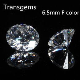 $enCountryForm.capitalKeyWord Australia - TransGem 6.5mm 1ct Carat F Colorless Round Brilliant Cut Moissanite Loose Lab Diamond Gemstone Test as positive 1pcs