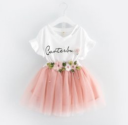 Wholesale hot tshirt girl online – design Hot Summer Girls Dress Set Baby Kids Letters Flower Cotton Tshirt Embroidery Flower Lace Tulle Skirt Clothing Children Outfits
