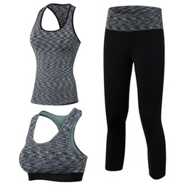 white yoga pants wholesale 2019 - Yuerlian 3 Pieces Fitness Quick Dry Workout Sport Suit Tights Run Sport Bra Tracksuit For Women Tank Top pants Yoga Set