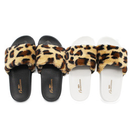 wool cloth soft Australia - 2018 Funny fuzzy black white Fashionable cloth art slippers indoor leopard print wool anti-slippery Cute and sexy warm slippers