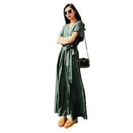 8c628c7dbbd Jumpsuits female summer 2018 new Korean Temperament retro dark green V  collar nine suits pants casual wide leg pants sleepwear