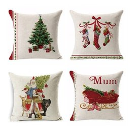Discount christmas design case - 45*45CM Christmas pillowcase home decoration 18 designs sofa cushion cover car waist pillow case New Year gifts free shi
