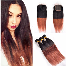 Color 33 hair extensions online shopping - Grade a Virgin Brazilian Hair Silk Straight Human Hair Weaves T1B Dark Auburn Brown Ombre Hair Extensions With Lace Closure