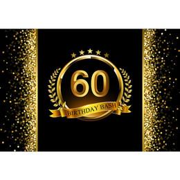$enCountryForm.capitalKeyWord UK - Customized 60th Birthday Bash Backdrop Black Printed Gold Ribbon Stars Bokeh Polka Dots Party Theme Photo Booth Background Vinyl
