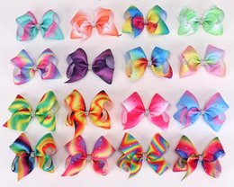 "rainbow pastel hair NZ - 20pcs Jeweled Pastel flora ombre ribbon girl Jojo 5"" hair bows Alligator clips Boutique Rainbow Rhinestone hair Accessories HD3473"
