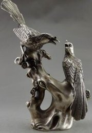 Plum blossoms art online shopping - 9 inch Exquisite Chinese old Tibetan silver auspicious statue magpies standing on the plum blossom