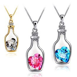 Locket Love NZ - New Bottles And Love Crystal Pendant Necklace Cheap Diamond Alloy Wishing bottle Necklace Sweater Necklace Locket Jewelry