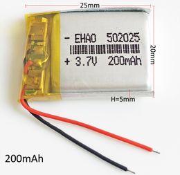 $enCountryForm.capitalKeyWord Australia - 3.7v 200mAh 502025 LiPo Rechargeable Battery Li-polymer Protect borad For mini speaker Mp3 bluetooth Recorder headphone headset smart watch