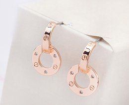 Rose Rhinestone eaRRings online shopping - high quality famous brands jewelry rose gold color plated designer stud earrings for women luxury best Christmas gift for ladies