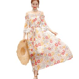 dc7c0356b50 Women Floral Print Boho Dress 2018 Fashion Summer Flare Sleeve Spaghetti  Strap Dresses Sweety Bow Long Maxi Dress Vestidos ZS281