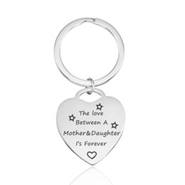 """Discount keyring engraving - Quotes Keychains Stainless Steel Keyrings Inspirations""""The Love Between A Mother&Daughter""""Engraving DIY Women"""