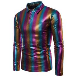Discount mens clubbing clothes - mens designer dress shirts Full Sleeve Men Gilding Lapel Neck Casual Shirts Slim Men Night Club blouse shirts plus size