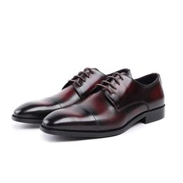 $enCountryForm.capitalKeyWord UK - Great Quality Black Formal Shoes Men Pointed Toe Lace Up Brush Color Business Leisure Leather Shoes Man Size 37-44 Red