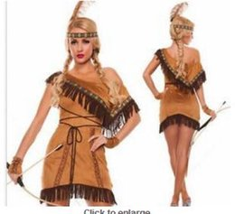 95d666918b S-2XL Tassels Indian queen costumes,Indian Costume Womens Pocahontas Native  American Indian Wild West Fancy Dress Party Costume sexy