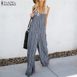e8d49489984 2018 Summer ZANZEA Women Sexy Deep V Neck Striped Jumpsuits Sleeveless Overalls  Rompers Casual Loose Work OL Wide Leg Pants 5XL