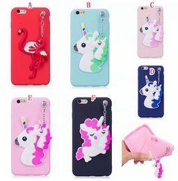 iphone flamingo case 2019 - 3D Cartoon TPU Silicone Gel Soft Case For Iphone X 8 7 6 6S Plus 5 5S SE Huawei P10 P8 Lite 2017 Unicorn Flamingo Chain