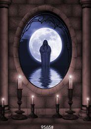 vinyl photography backdrop window 2019 - Halloween backdrop fantasy night candles oval window moon water photography backdrops vinyl cloth for photo studio photo