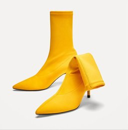 $enCountryForm.capitalKeyWord UK - Hot style Sexy sock boots Fashion Pointed high heel ankle boot with a short tube stretch boots yellow short boots